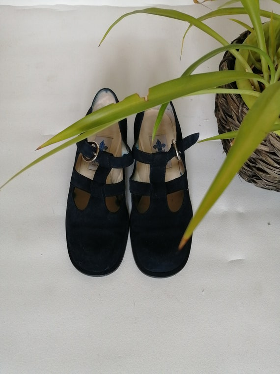 vintage blue suede shoes 1980