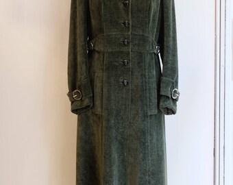 Vintage coat olive Dark green velvet