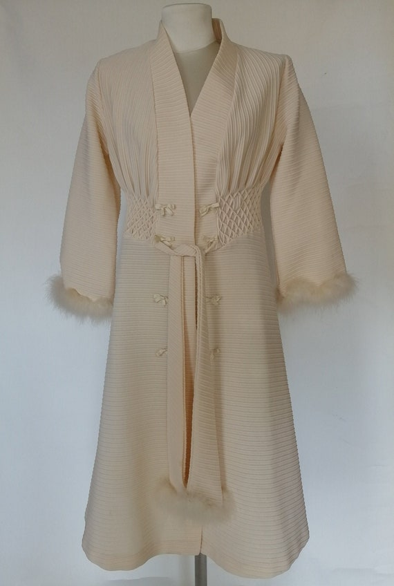 dressing gown with vintage fur edge