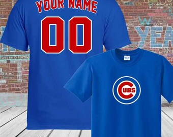308ee6c33bd Custom Personalized Adult  Youth Chicago Cubs  Your Name and Number  T-Shirt