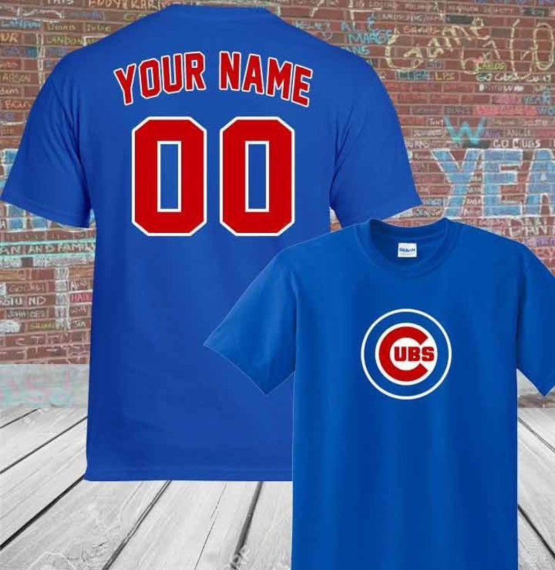 save off aa46a dfa58 Custom Personalized Adult/ Youth Chicago Cubs 'Your Name and Number' T-Shirt