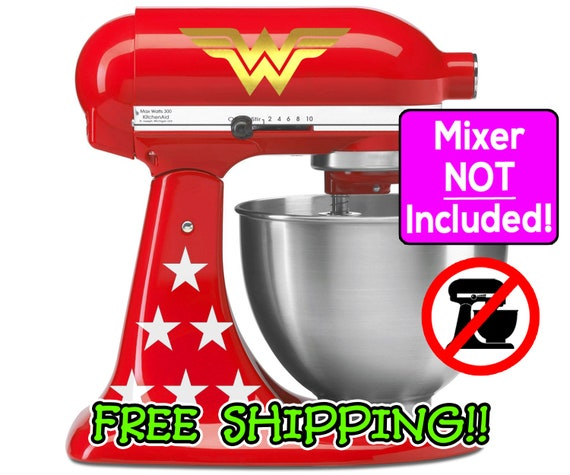Wonder Woman KitchenAid stand mixer decal set. Value edition with 2 logos  and 12 stars! Available with metallic gold or yellow logos!