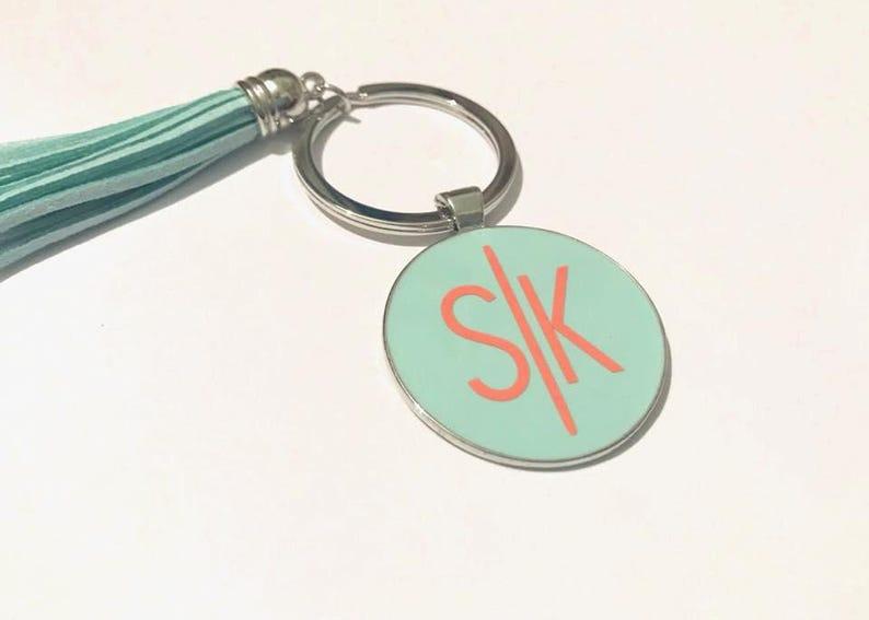 Initial Keychain, monogram keychain, personalized gift, tassel keychain,  secret santa gift, initial accessory, gifts for her, fancy monogram