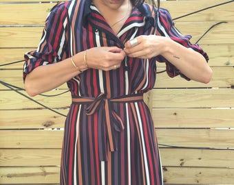 1980s Vintage Saks Fifth Avenue Striped Dress with Waist Belt