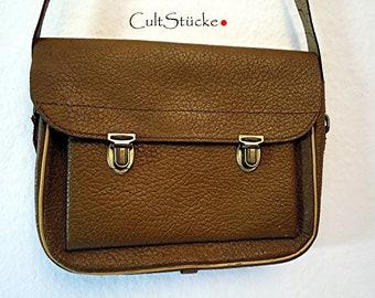 977aaf88a1986 Vintage 60s kleine Ranzen Tasche Umhängetasche Schultasche grobes Leder  braun