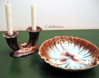 40s ceramic fruit bowl + candle holders