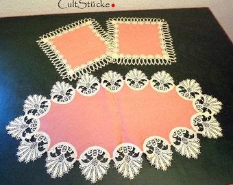 Vintage table cloth Doilies dusky pink