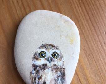 Hand painted owl pebble. Rock Stone art wild animal gift decoration ornament unique present painting drawing owl
