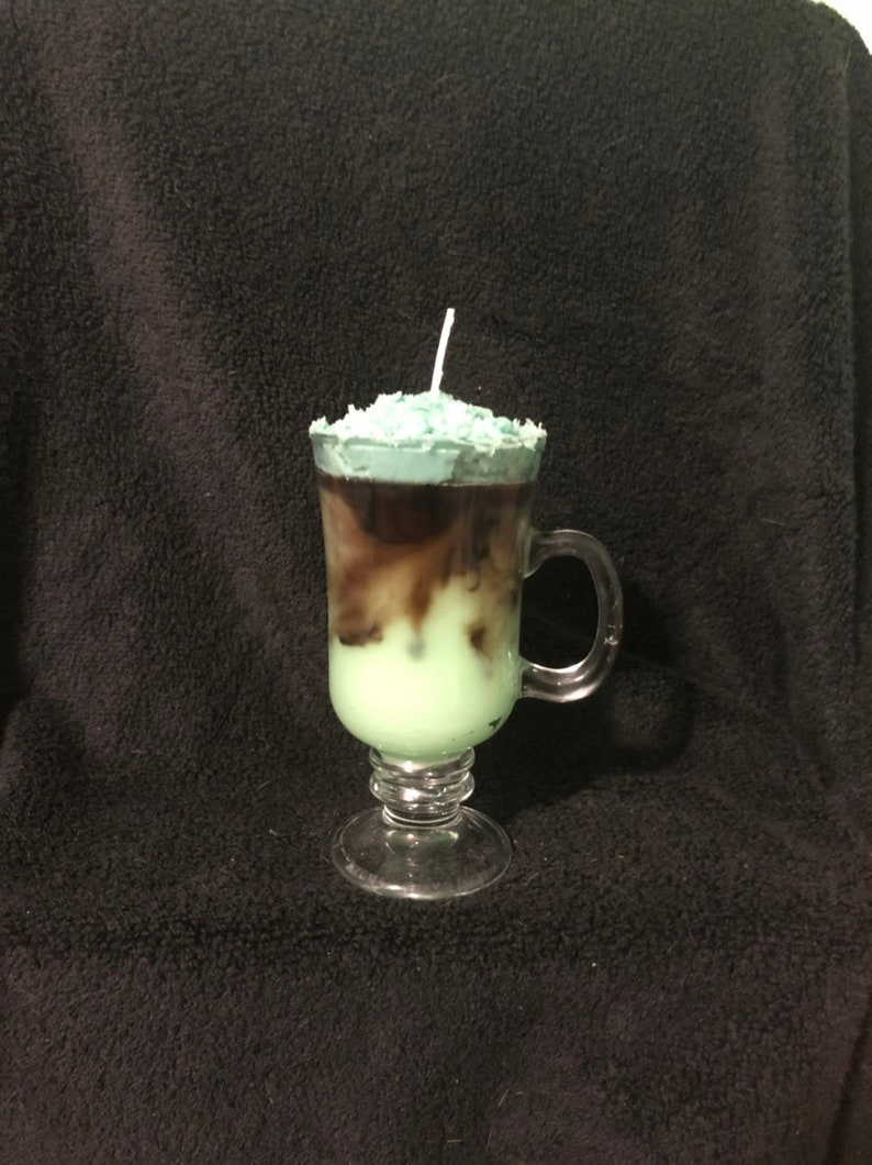 Peppermint Patty Candle With Green Whipped Cream Etsy