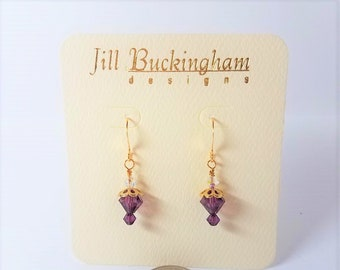 Earrings Purple Swarovski Crystal & Gold