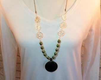 Necklace Olive Green Glass Pearls & Metal Medallion