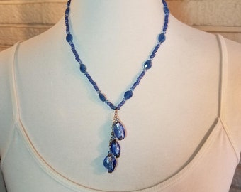 Necklace Blue Glass & Gold