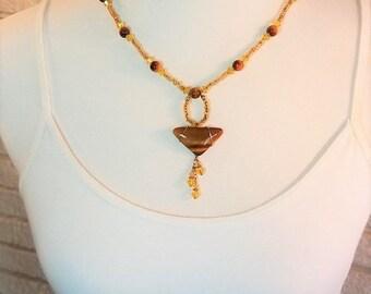 Necklace Tigereye & Crystal