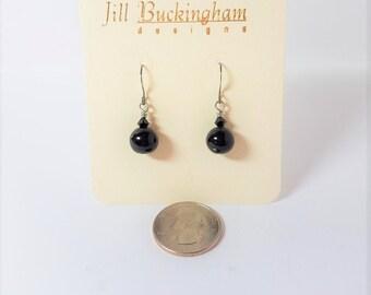 Earrings Black Glass & Crystal