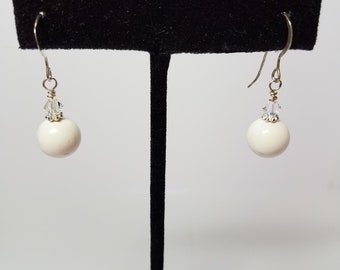 Earrings Cream Glass Pearls & Silver