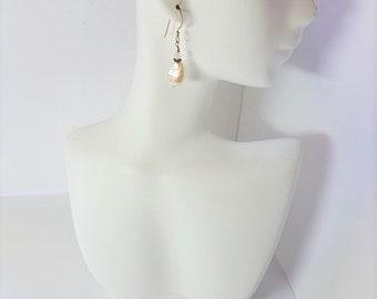 Earrings White Freshwater Pearls & Sterling