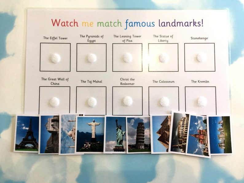 Famous landmarks learning sheet, Matching game, Geography, Teaching  resource, KS2, home learning, world landmarks