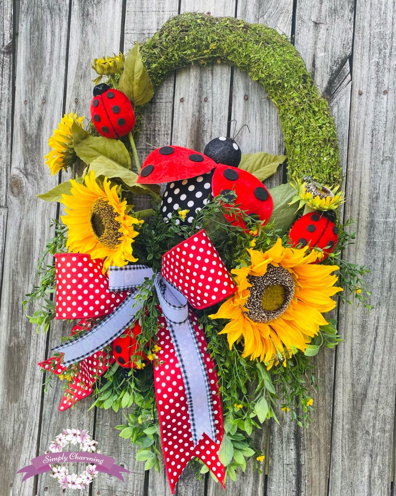 Summer Wreath Welcome Wreath Ladybug Wreath Spring Wreath