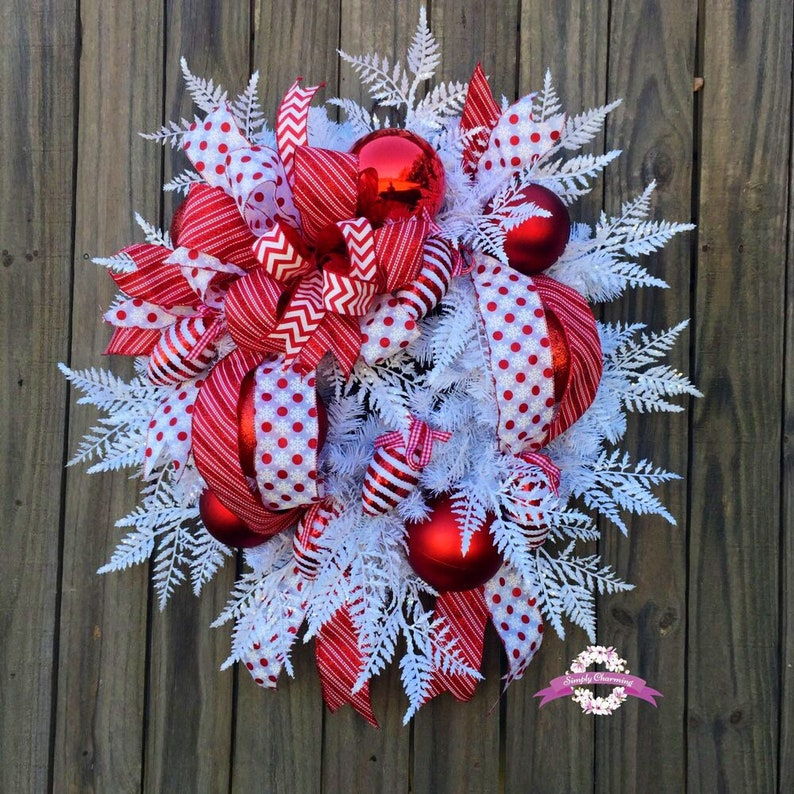Red And White Christmas Wreath For Front Door Christmas Etsy