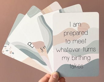 Set of 18 Birth Affirmation Cards, Hypnobirthing Cards, Positive Birth, Baby Shower Gift