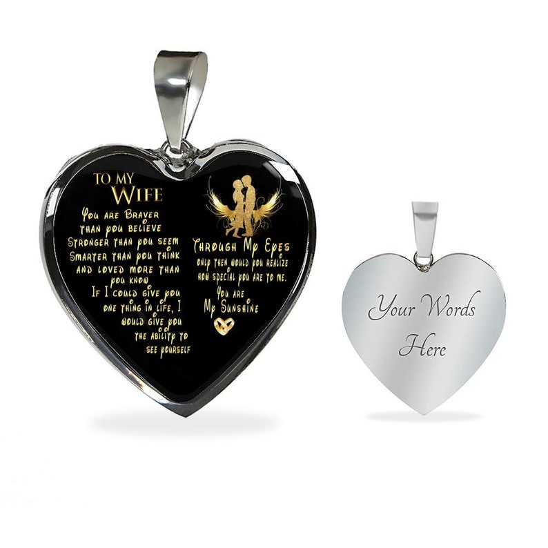 Wife Heart Necklace Thoughtful Gifts For Wife To My Wife Necklace I Love You Wife Anniversary Gift Personalized Gifts For Wife Birthday