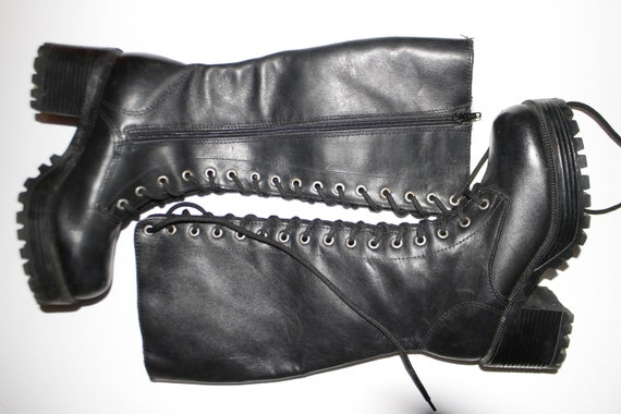 Y2K Platform Lace Up Chunky Heel Boots