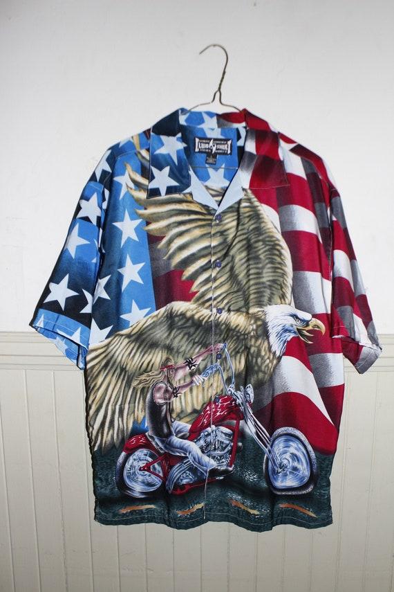 USA American Motorcycle Button Up UNISEX Shirt