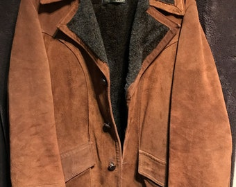1bf75aaa1a3 Amazing vintage leather coat from Sears the mens store size 40 reg we ship  fast fleece lined rare leather heavy coat