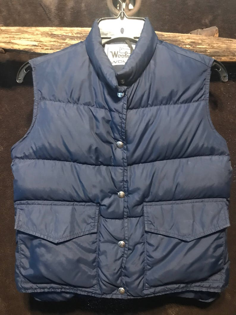 938cc310d93 Woolrich down filled vest womens vintage navy size small used   Etsy