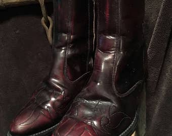 Rare cherry black side zip western boot from Acme size 81/2