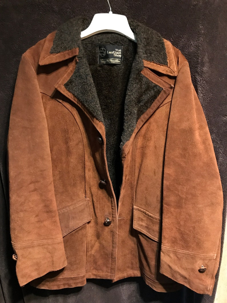 95824e0fa Amazing vintage leather coat from Sears the mens store size 40 reg we ship  fast fleece lined rare leather heavy coat