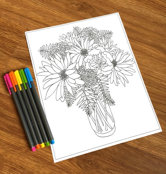 Vase of Flowers  PDF Coloring Page  Flower Coloring
