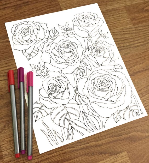 Rose Pdf Coloring Page Printable Therapy Coloring