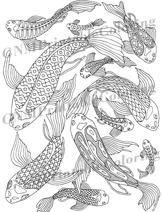 Koi Fish - PDF Zentangle Coloring Page - Therapy Coloring - Under the Sea -  Digital Download - Printable Adult Coloring Page