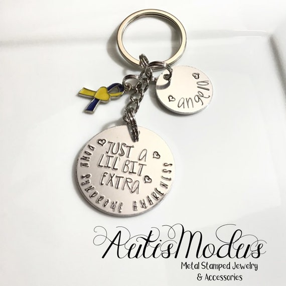 Down Syndrome Awareness Keychain, Just A Lil' Bit Extra Keychain, I Love Someone with Down Syndrome, Special Needs Gift, Teacher Gift
