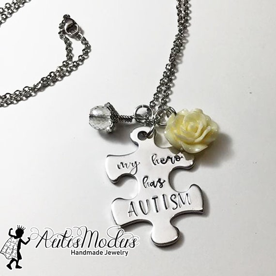 Gift for Child Motivational Autism Inspired Jewelry Inspirational Necklace Brave and Strong Metal Stamped Necklace Gift for Her or Him