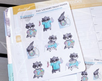 Laundry trash panda chores stickers - Raccoons chores functional stickers for planners - Washer sticker, laundry, clothesline, ironing