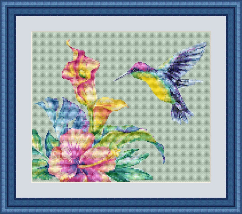 Cross Stitch Pattern Flowers And Bird Birthday Gift Gift For