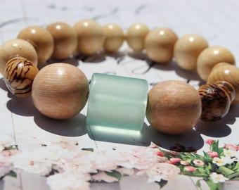 Seafoam Green Glass and Natural Wood Bracelet