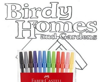 Birdy Homes and Gardens colouring book by Kenny Pittock with textas