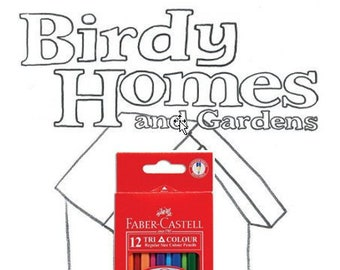 Birdy Homes and Gardens colouring book by Kenny Pittock with pencils