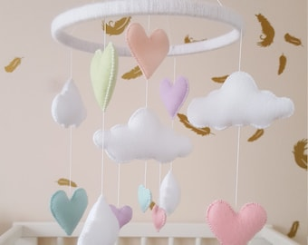 heart mobile, Pastel mobile, baby mobile, heart and cloud baby mobile, nursery decor, rainbow mobile, baby gift, baby shower gift, crib mobi