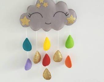 Rainbow mobile, cloud mobile, nursery mobile,crib baby mobile, cloud and droplets mobile, baby mobile, nursery mobile, baby crib mobile