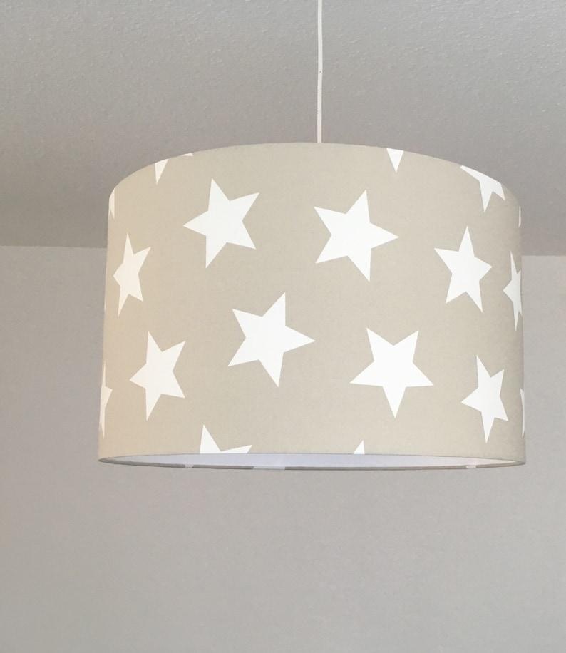 Lampenschirm Kinderzimmer Sterne, Lampe beige, Kinderlampe