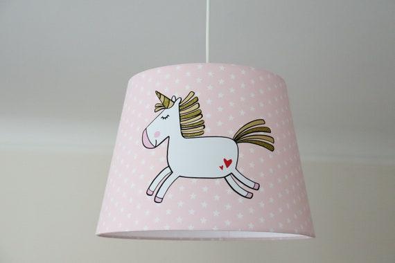 Lampenschirm Kinderzimmer, Lampe Einhorn, Deckenleuchte Sterne rosa,  Kinderlampe, Kinderzimmerlampe