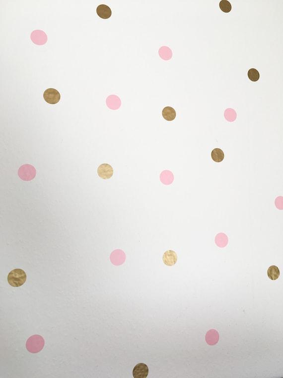 Wanddeko Kinderzimmer Wandtattoo Kinder Punkte Gold Rosa Etsy