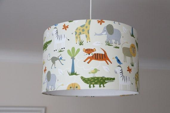 Lampenschirm Kinderzimmer, Babyzimmer Jungs, Lampe Kinder, Kinderlampe mit  afrikanischen Wildtieren, Kinderzimmerlampe Tiere