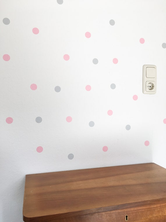 Baby room wall decoration, wall sticker children\'s dots light grey pink,  walltattoo baby room, deco nursery, pastel, sticker dots