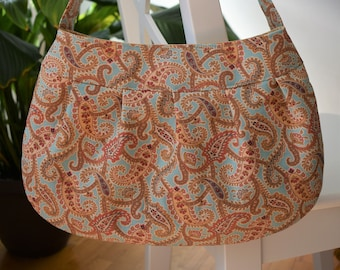 Pleated Fabric Purse, Large - Blue Paisley - Buttercup bag, cotton, handbag, blue, paisley, coral, tan, gold