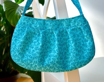 Pleated Fabric Purse, Small - Blue Floral - Buttercup bag, cotton, handbag, blue, floral, flowers, teal